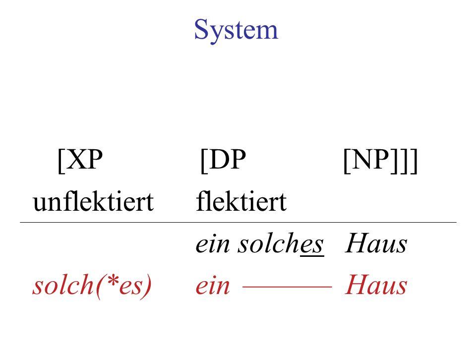 System [XP [DP [NP]]] unflektiert flektiert ein solches Haus solch(*es) ein –––––– Haus